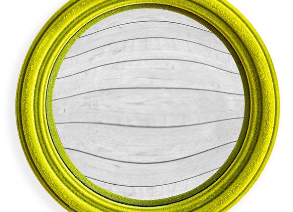 Funky Flocked Bright Green Thin Framed Small Convex Mirror