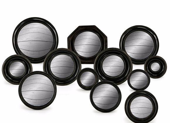 Set Of 12 Assorted Black Framed Convex Mirrors