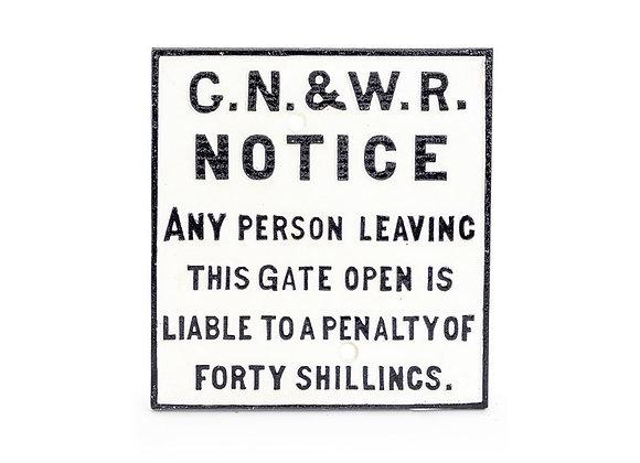 Cast Iron G.N&W Railway Sign