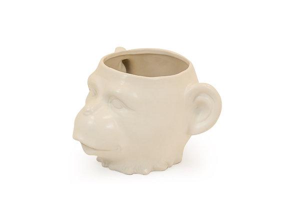 Ceramic Monkey Face Vase/Pot (White)