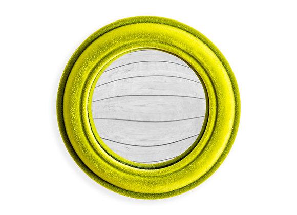 Funky Flocked Bright Green Small Convex Mirror
