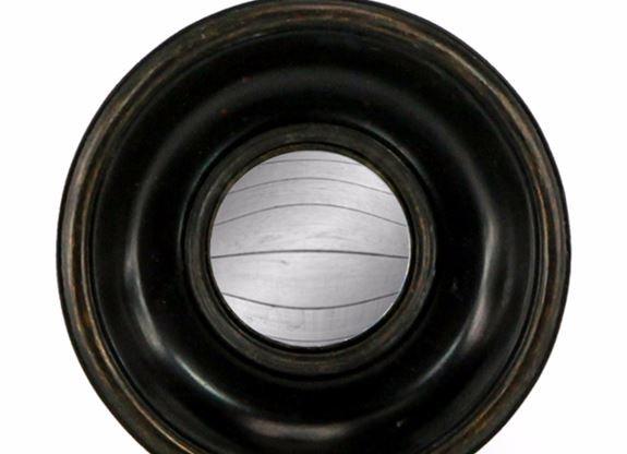 Black Deep Framed Round Convex Mirror
