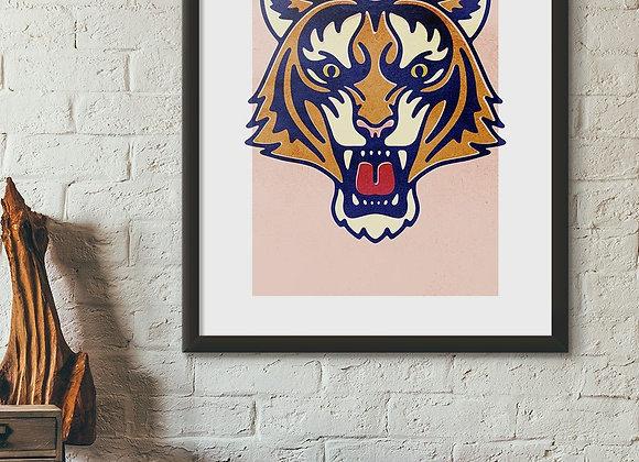 Funky Tiger Portrait Print