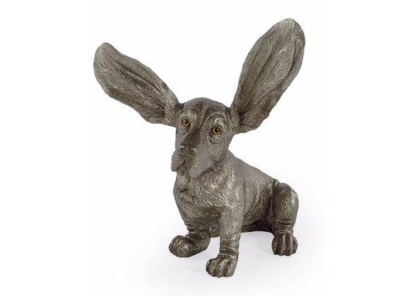 Silver Basset Hound Figure