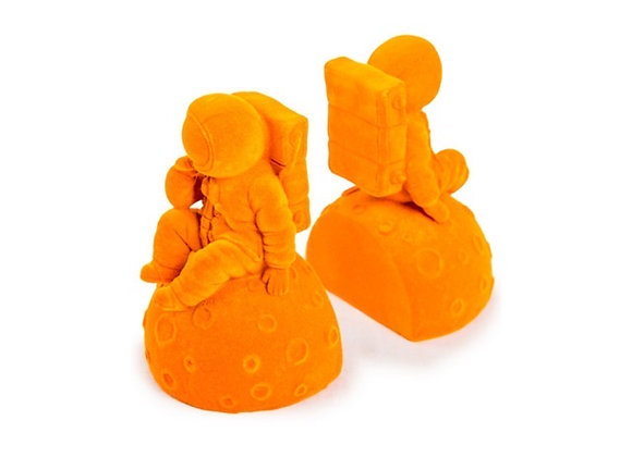 Quirky Flock Orange Astronaut Bookends (Pair)