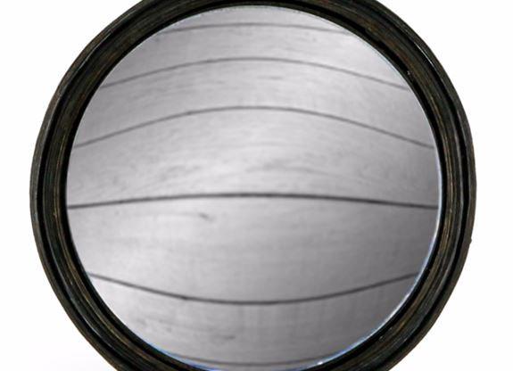 Large Black Thin Framed Round Convex Mirror