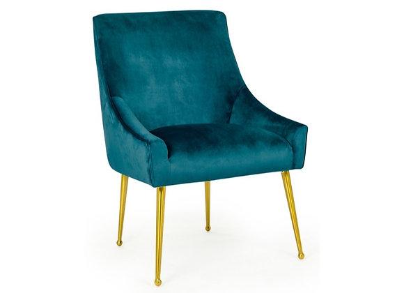 Beautiful Blue Velvet Chair On Brass Legs