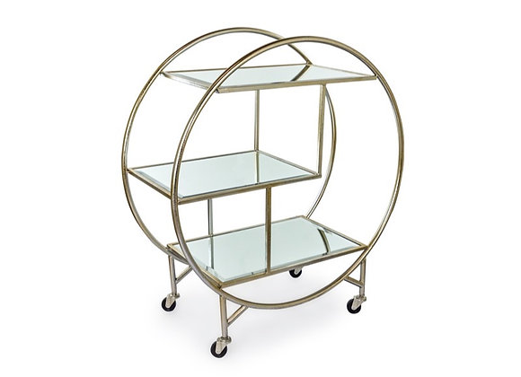 Round Drinks Trolley / Storage Unit (Silver)