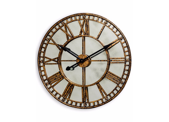 Large Antiqued Gold / Silver Mirrored Wall Clock