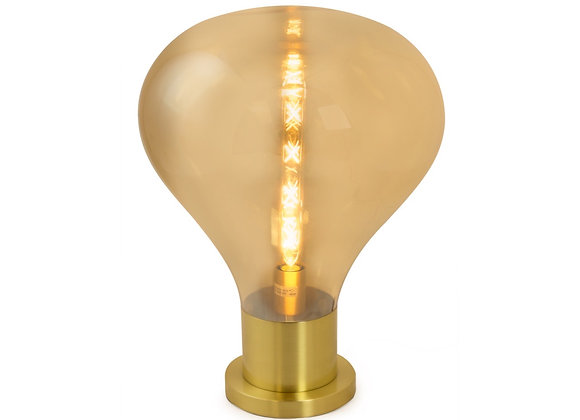 Large, Quirky Gold Glass Edison Bulb Style LED Lamp On Brass Base