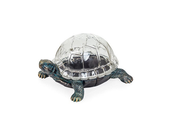 Large Bronze Effect Tortoise With Glass Shell