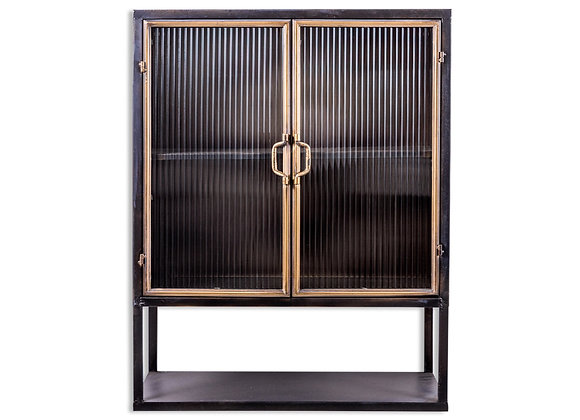 Black and Antique Gold Square Metal Cabinet With Shelving