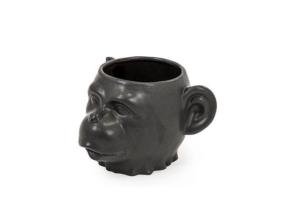 Ceramic Monkey Face Vase/Pot (Black)