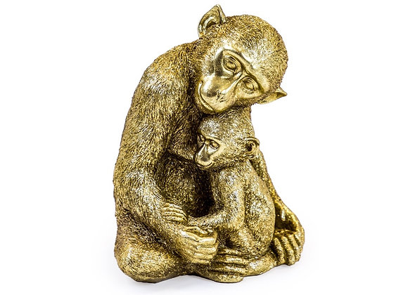 Gold Effect Monkey With Baby Figure