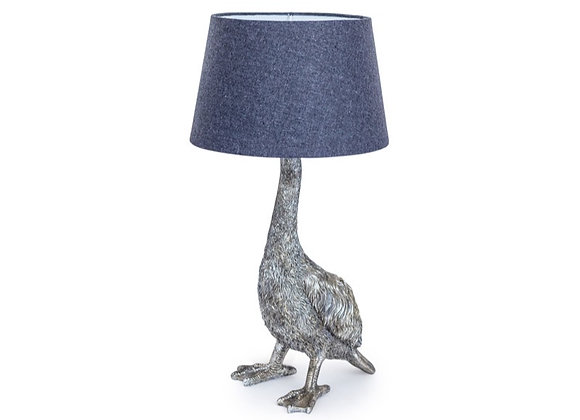 Quirky Silver Goose Lamp With Grey Shade