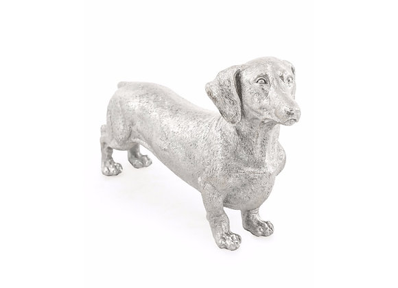 Silver Dachshund Dog Figure
