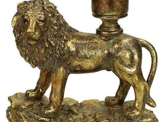 Gold Effect Lion Candlestick