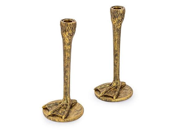 Pair Of Bird Leg Candle Sticks (Gold)
