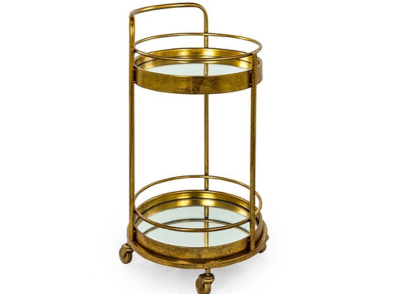 Small Round Drinks Trolley With Mirrored Shelves