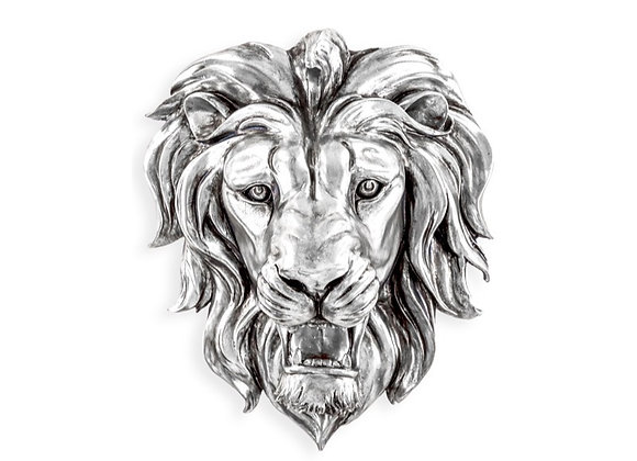 Funky Silver Roaring Lion Wall Decoration