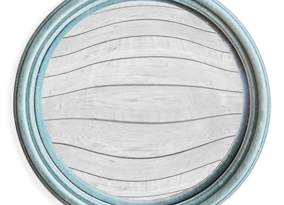 Quirky Flocked Grey/ Blue Thin Framed Large Convex Mirror