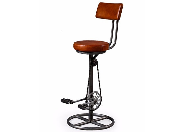 Leather and Iron Pedal Bar Stool with Back Rest