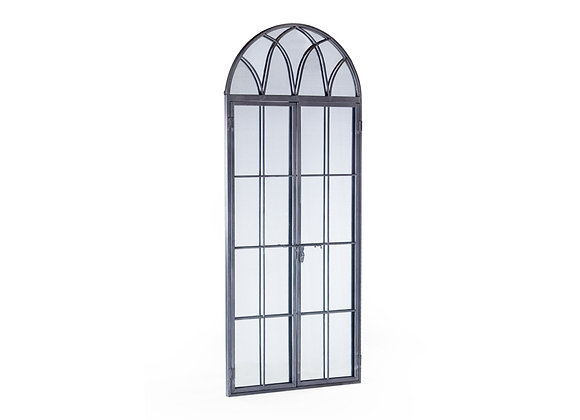 Tall Antiqued Grey Iron Arched Window Mirror
