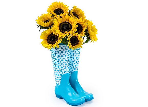 Fun Blue Ceramic Welly Boot Vase