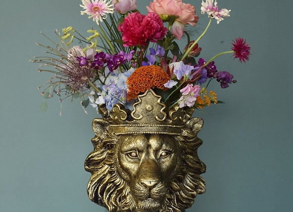 Stunning Gold Finish Lion Planter