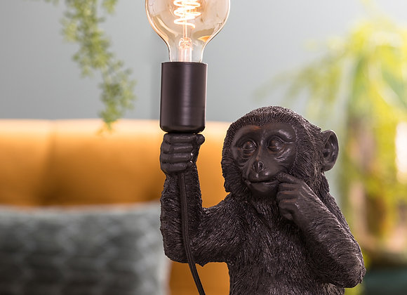 Charming Black Sitting Monkey Lamp
