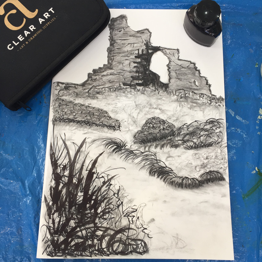 Charcoal, graphite and inks