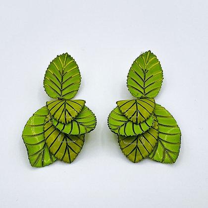 Boucles d'oreille Cilea 'Coton' Vertes
