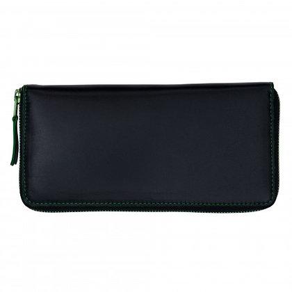 Portefeuille Comme des Garçons Noir coutures vertes