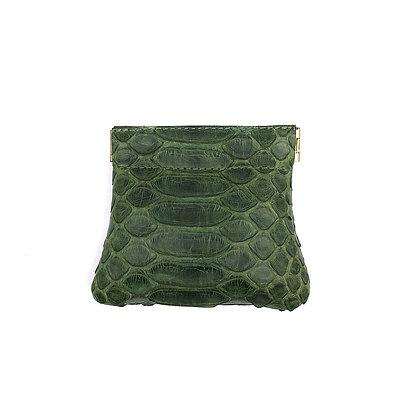 Porte-monnaie Michael Guérisse O'Leary 'Clic-clac' Python vert olive