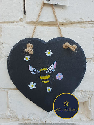Bumble Bee Slate Heart Plaque