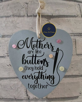 Mother's are like Buttons Hanging Plaque