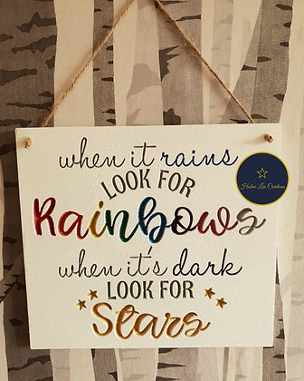 When It Rains Look For Rainbows Hanging Plaque