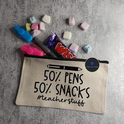 50% Pens 50% Snacks Pencil Case #teacherstuff