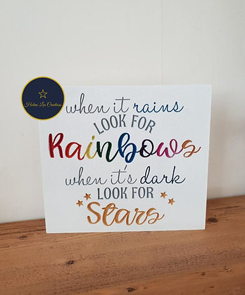 When It Rains Look For Rainbows Freestanding Plaque
