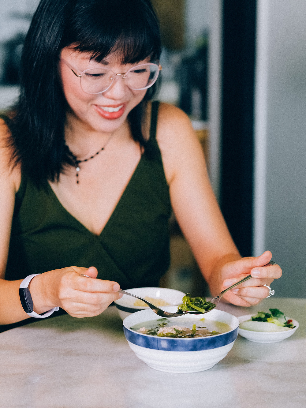 Julia Guo with her home cooked dishes, following the AIP diet