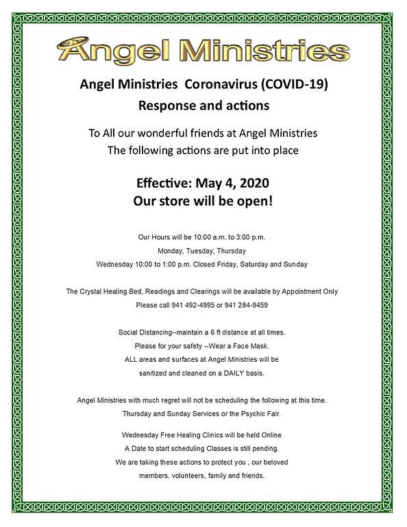 Angel Ministries Coronavirus Response -