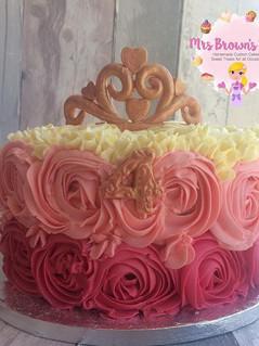 Piped Rosette Princess Cake