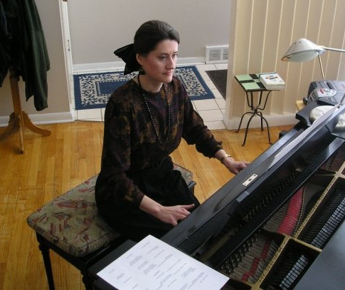 Prepping for Faculty Recital, c. 2001