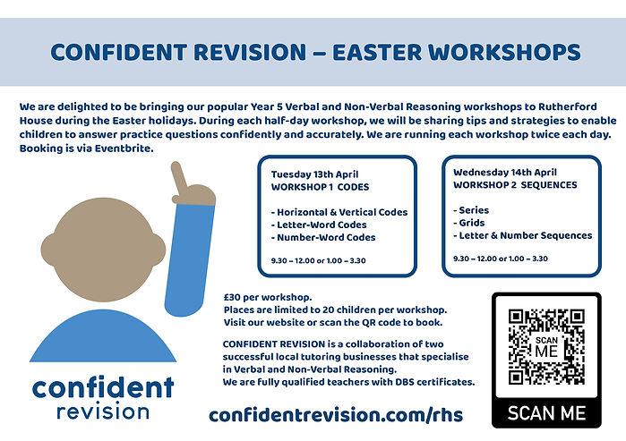 confident revision easter workshop flyer