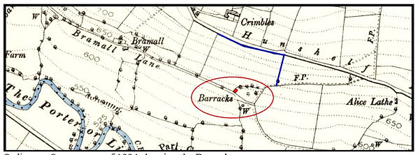 map showing the Barracks.JPG