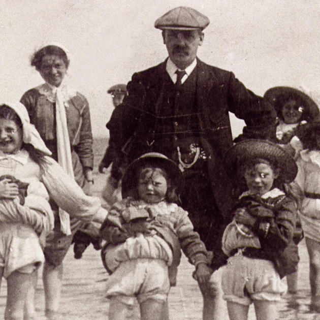 30. Joe Rogers with (L-R) Lucy, Sarah, Lily. NOTE: I was told the middle girl was Lily, but as she appears to be the youngest, this must be Sarah.