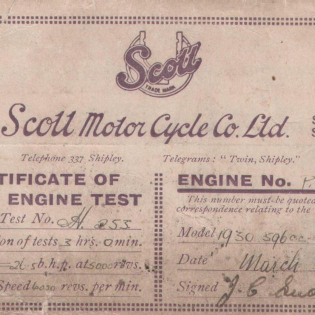 Scott Motorcycle cert. of engine test