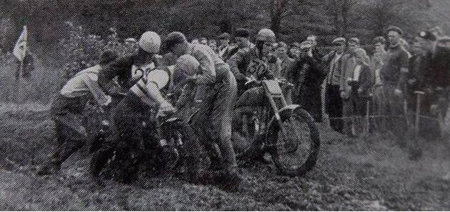 A stuck bike at Trunce Scrambles 1953