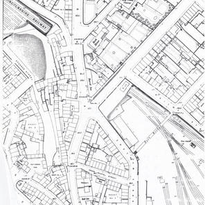 1889 large scale map of Chatham Street and its courts