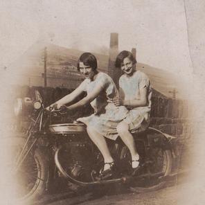 Nan on back of a Norton 1929